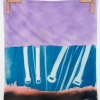 Travis Boyer<br> <i>Untitled</i>, 2013<br> Cyanotype and dye on silk with leather fasteners<br> 45 x 36 inches