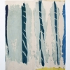 Travis Boyer<br> <i>Involved Homosexual Group in Cut-offs</i>, 2013<br> Cyanotype, acrylic and dye on silk<br> 80 x 105 inches
