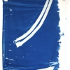 <em>Fire Island Belt Painting</em>, 2011<br> Cyanotype and dye on silk with leather fasteners<br> 45 x 36 inches (114 x 91.5 cm)