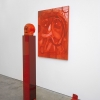 Brian Kokoska<br> <i>American Rose (Red Hair Truth or Dare)</i>, 2014<br> Oil on canvas, clay, acrylic, kanekalon, felt, plexiglass, rubber gloves<br> Sculpture: 64 x 7.25 x 7.25 inches (162.56 x 18.42 x 18.42 cm)<br> Painting: 48 x 36 inches (121.92 x 91.44 cm)