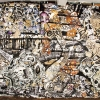 <em>Black & Whitish</em>, 2007<br> Canvas backed paper collage, tape, enamel, oilbar, xerox, newsprint, and blue jean fabric<br> 120 x 156 inches