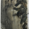 <em>Oil & Money</em>, 2010 <br> American currency, motor oil, charcoal dust, and paper <br> 30 x 40 inches