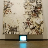 <em>Harlem</em>, 2010 <br> Found canvas and stolen portable TV <br> 23 x 28 inches, 11 x 3 x 13.5 inches
